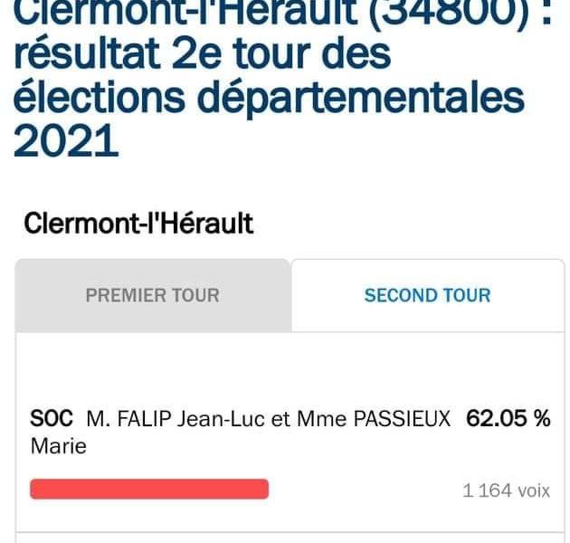 Résultats 2nd Tour Départementale Canton de Clermont